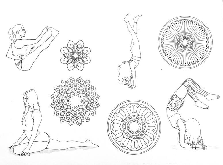 mandalas and yoga poses - b&w